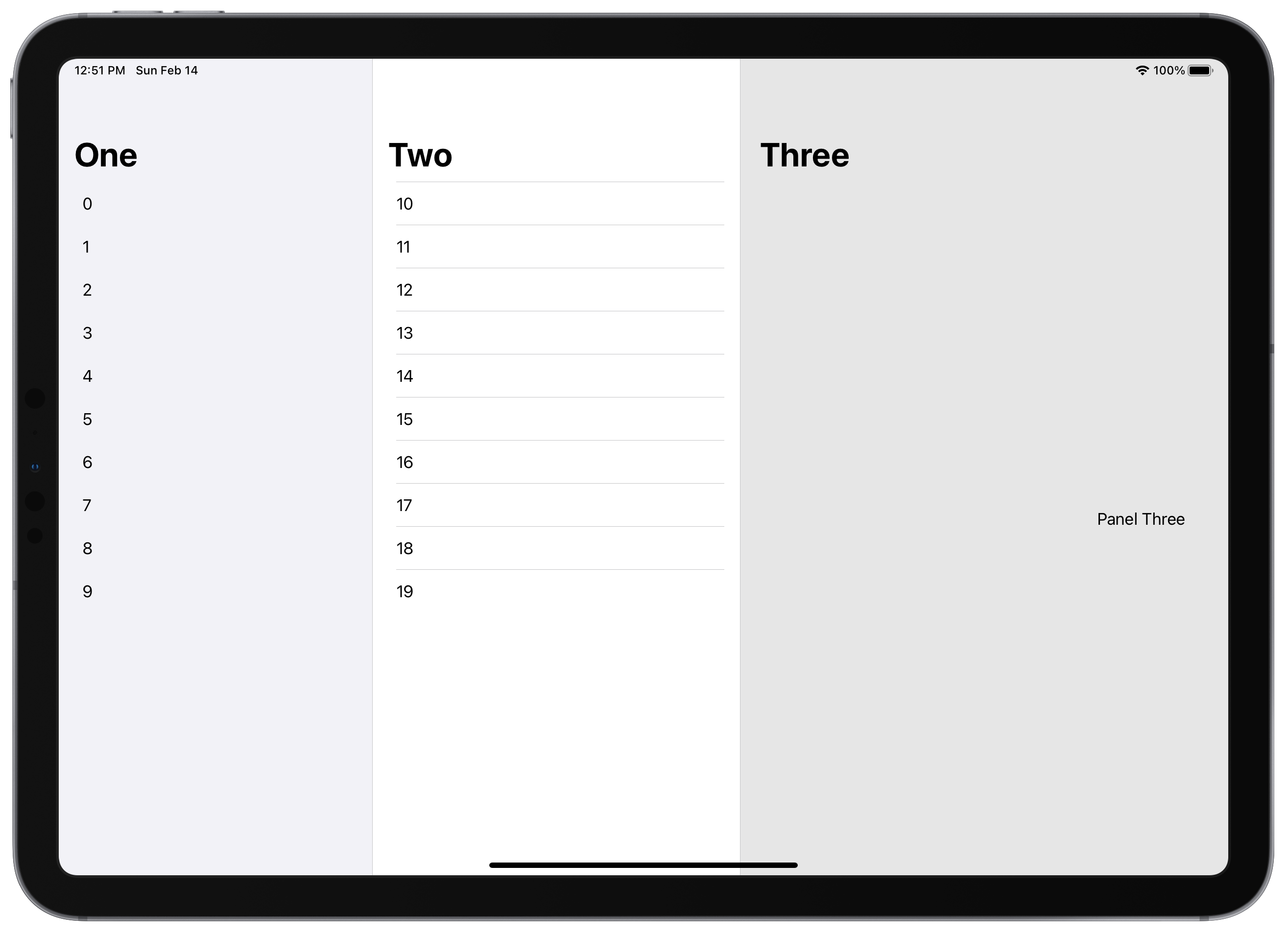 Three-column iPad layout.